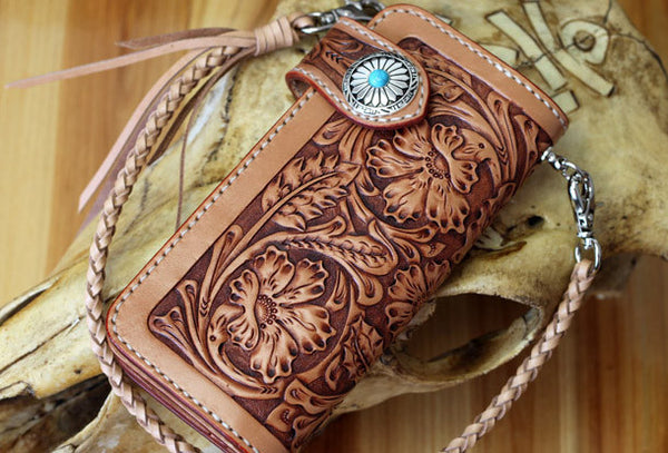 Handmade biker wallet leather floral carved biker wallet chian bifold Long wallet purse clutch for men