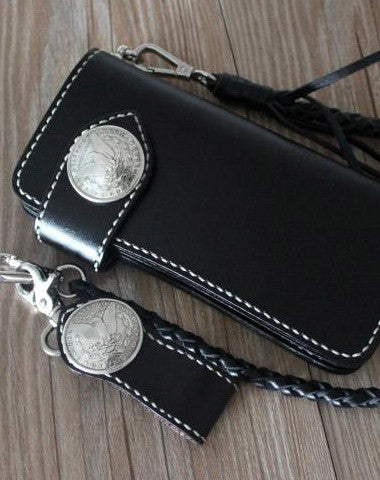 [ On Sale ] Handmade cool black leather biker wallets chain wallet Long wallet for men