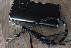 Handmade leather biker wallet black chain bifold Long wallet purse clutch for men