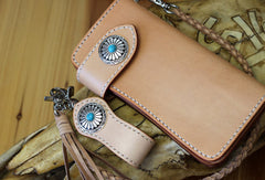 Handmade biker wallet leather beige biker wallet chain bifold Long wallet purse clutch for men