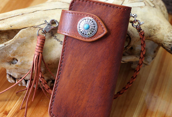 Handmade biker wallet leather vintage brown biker wallet chian Long wallet clutch purse for men