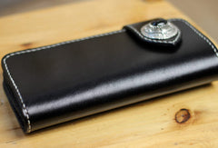 Handmade leather biker wallet black chain wallet bifold Long wallet for men