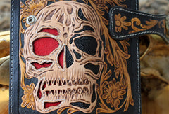 Handmade biker wallet Tooled leather skull chain biker wallet Chain Long wallet for men