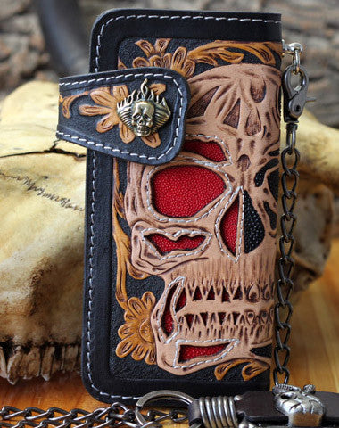 HANDMADE BIKER WALLET TOOLED LEATHER SKULL PUNK CARVED BIKER WALLET CHAIN LONG WALLET CLUTCH FOR MEN
