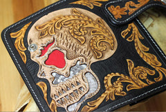 Handmade chain wallet biker wallet leather punk skull carved biker wallet chian Long wallet clutch for men
