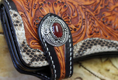 Handmade biker wallet leather floral tooled biker wallets chian bifold Long wallets for men