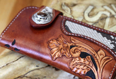 Handmade biker wallet  brown leather floral carved men biker wallet bifold Long wallet for men