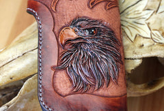 Handmade red brown leather floral eagle carved men biker wallet bifold Long wallet for men