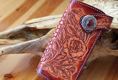 Handmade biker wallet brown leather floral rose carved men biker wallet bifold Long wallet for men