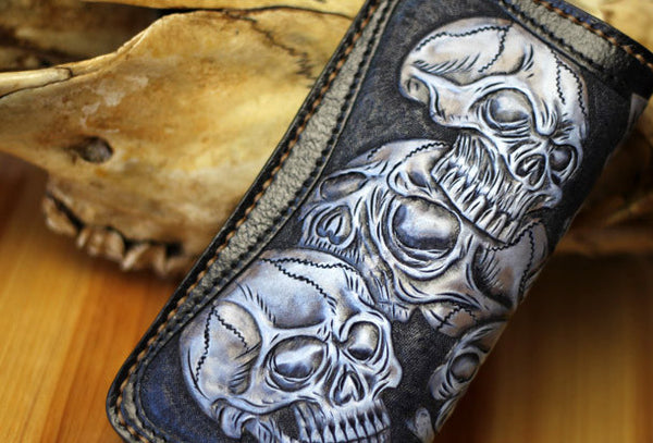 Handmade biker wallet leather black blue skull carved biker wallet Long wallet clutch for men