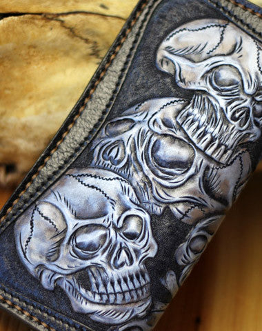 Handmade tooled biker wallet leather black blue skull carved chain wallet Long wallet clutch for men