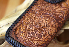 Handmade Tooled Chain Wallet biker wallet leather blue brown skull carved biker wallet Long wallet clutch for men