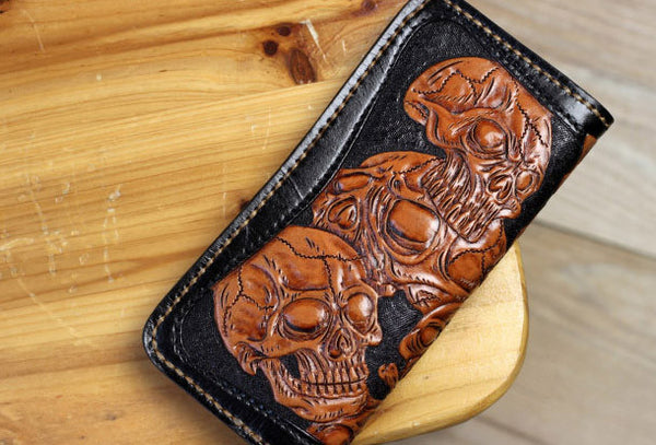 Handmade biker wallet leather black brown skull carved biker wallet Long wallet clutch for men