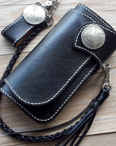 Handmade leather biker wallets black chain wallet Long wallet for men