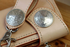 Handmade biker wallet beige leather men biker wallet with chain bifold Long wallet for men