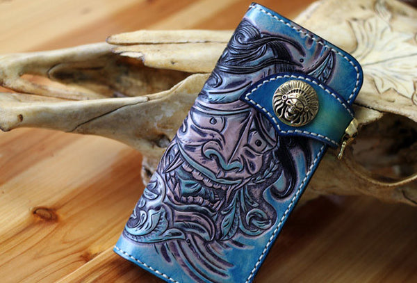 Handmade biker wallet blue leather Voltron carved biker wallet chian bifold Long wallet for men
