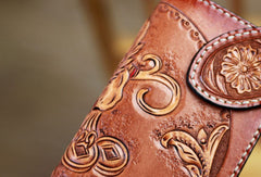 Handmade biker wallet brown leather kylin unicorn carved biker wallet chian trifold Long wallet for men
