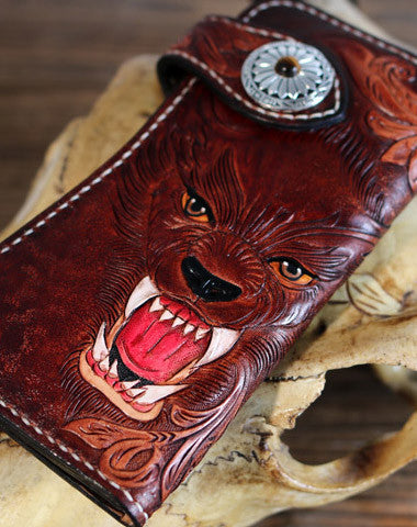 Handmade biker trucker Tooled wallet leather chain men wolf carved leather long wallet for men him