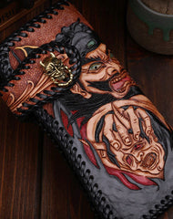 Handmade leather Tooled Chain biker Wallet trucker Chinese Devil Hunter wallet leather chain men Long Black Carved Tooled wallet