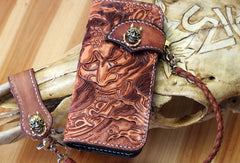 Handmade biker wallet leather Prajna Inuyasha carved biker wallet chian Long wallet clutch for men