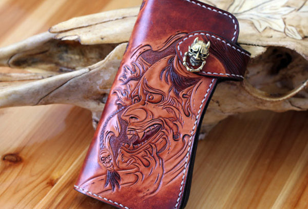 Handmade biker wallet brown leather prajna carved men biker wallet bifold Long wallet for men