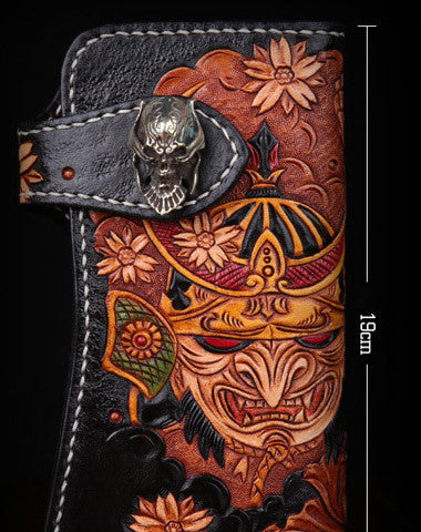 Handmade leather Long biker trucker japanese general wallet leather men chain Black Carved Tooled wallet