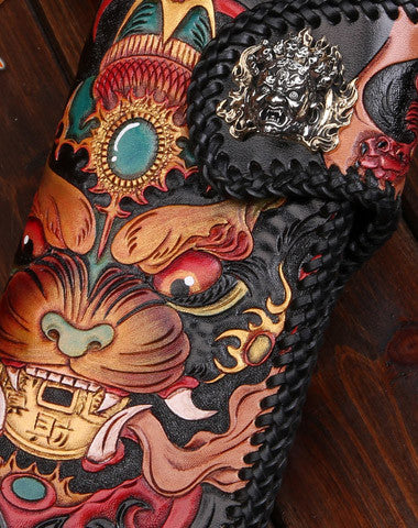 Handmade leather Long Chinese Monster biker trucker chain wallet leather men Carved Tooled wallet