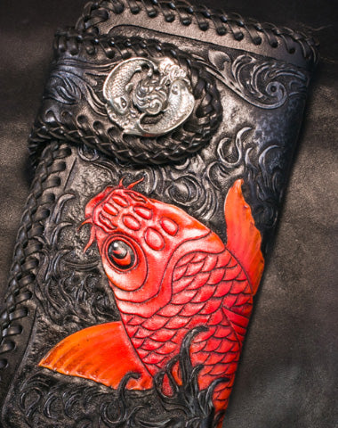 Handmade Leather Black Biker Trucker Wallet Leather Chain Men Red Carp Tooled Wallet