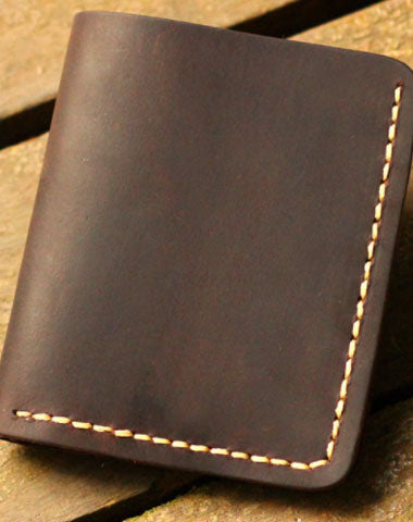 Genuine Leather Wallet Handmade Folded Short Wallet Slim Wallet For Men Women