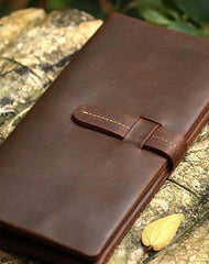 Genuine Leather Wallet Bifold Vintage Long Wallet Purse Clutch For Mens