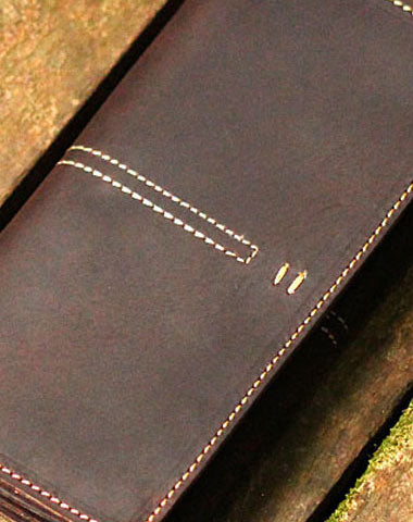 Genuine Leather Wallet Trifold Vintage Long Wallet For Men Women
