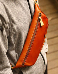 Genuine Leather Mens Chest Bag Cool Sling Bag Waist Bag Bike Bag Cycling Bag For Men