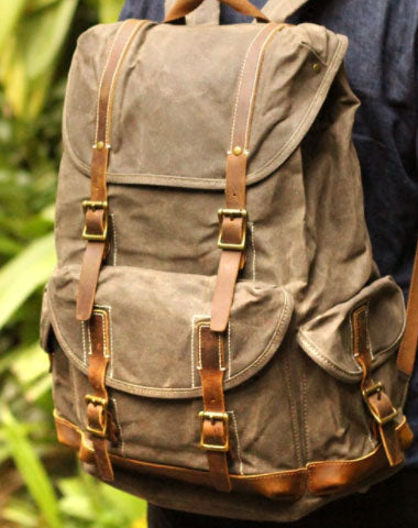 Handmade Mens Cool Canvas Backpack Sling Bag Large Black Travel Bag Hi 787e04a8dd84