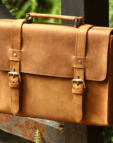 Handmade Leather Mens Cool Messenger Bag Briefcase Square Bag Chest Ba