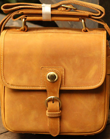 HANDMADE LEATHER MENS COOL MESSENGER BAG CAMERA BAG CHEST BAG BIKE BAG CYCLING BAG FOR MEN