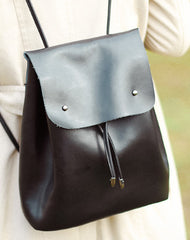 Handmade Genuine Cute Leather Backpack Bag Shoulder Bag Black Women Leather Purse
