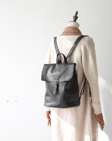 Genuine Leather Cute Small Backpack Bag Shoulder Bag Black Women Leather Purse