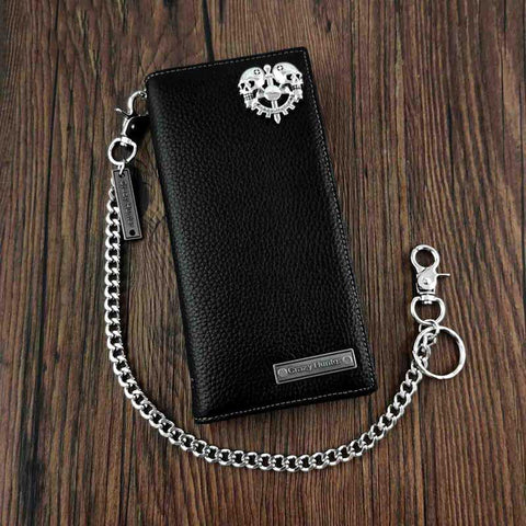 Badass Black Leather Men's Punk Long Biker Chain Wallet Skull Bifold Chain Long Wallet For Men