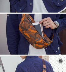 Badass Leather Fanny Pack Men's Yellow Camouflage Chest Bag Hip Bag Waist Bag For Men