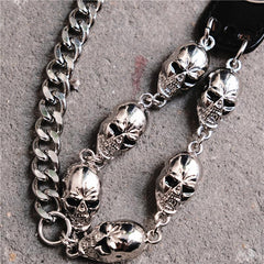 Badass Hip Hop Mens Skull Cross Wallet Chain Silver Pants Chain Biker Chain For Men