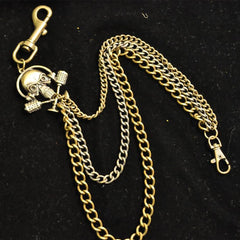 Badass Men's Brass Ghost Skull Triple Long Wallet Chain Pants Chain Biker Wallet Chain For Men