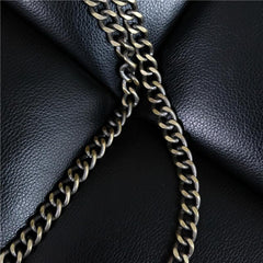 Badass Men's Bronze Metal Long Double Wallet Chain Pants Chain Biker Wallet Chain For Men