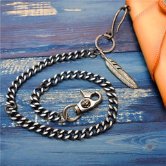 Badass Men's Skull Feather Pendant Wallet Chain Long Pants Chain Biker Wallet Chain For Men