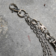 Badass Men's Silver Triple Pants Chain Bike Chain Long Punk Wallet Chain For Men