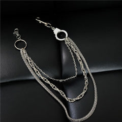 Cool Men's Silver Triple Fashion Long Punk Biker Wallet Chain Pants Chain For Men