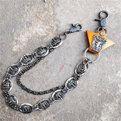 Badass Mens Leather Crown Double Key Long Biker Pants Chain Wallet Chain For Men