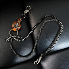 Badass Mens Leather Skull Key Chain Long Pants Chain Biker Wallet Chain For Men