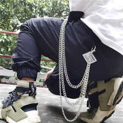 Badass Punk Mens Womens Long Three-Layer Hip Hop Pants Chain Wallet Chain For Men