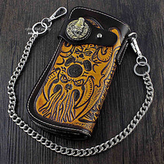 Badass Skull Leather Men's Long Wallet with Chain Biker Wallet Chain Wallet For Men