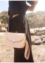 Beige Leather Women Small Handbag Chain Shoulder Bag For Women
